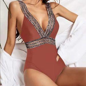 Leopard Print Monokini, Bikini, Swimsuit- REDWOOD